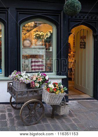 Floral shop display, Butchers Row, Shrewsbury