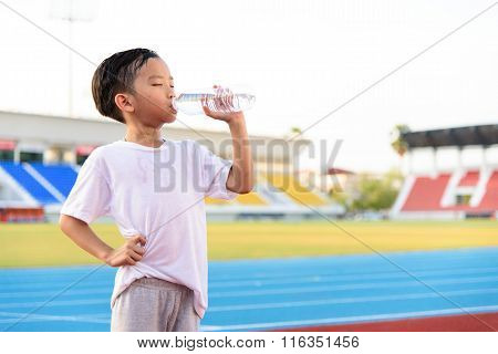 Boy And Bottle Of Water