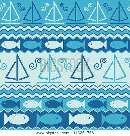 Fish and Sailboats abstract seamless pattern of stylized sailboats and fish in the sea.