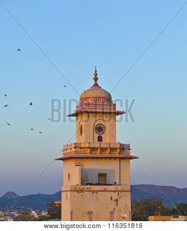 Famous Clocktower In Jaipur In Sunset