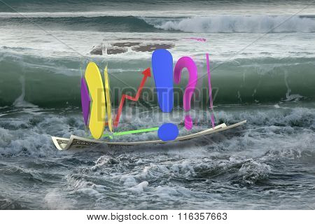 Transparent Cube Of Business Graphs On Money Boat In Ocean