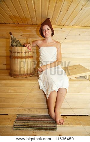 Young Girl At Sauna
