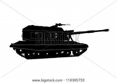 The tank in the foreground isolated on white background.