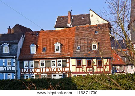 Beautiful Half-timbered Houses In Frankfurt Hoechst