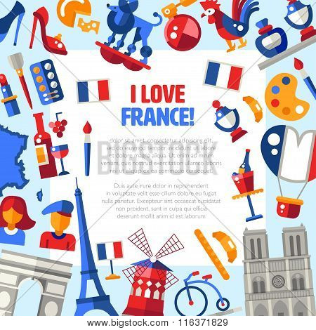 France travel icons circle postcard with famous French symbols