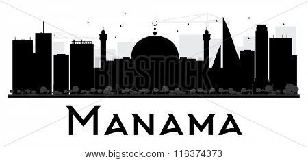 Manama City skyline black and white silhouette. Vector illustration. Simple flat concept for tourism presentation, banner, placard or web. Business travel concept. Cityscape with landmarks