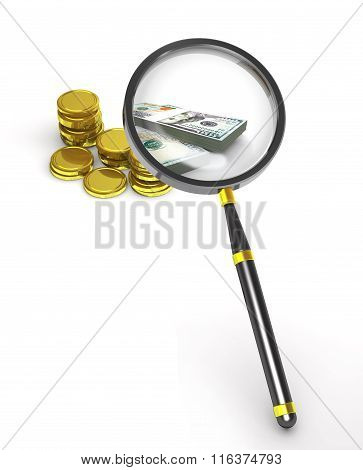 Magnifier, Coins And Banknotes.
