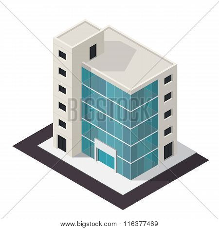 Vector isometric building icon.