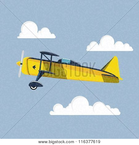 Airplane in the sky. Vector illustration