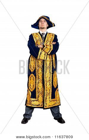 Serious Businessman In Asian National Costume