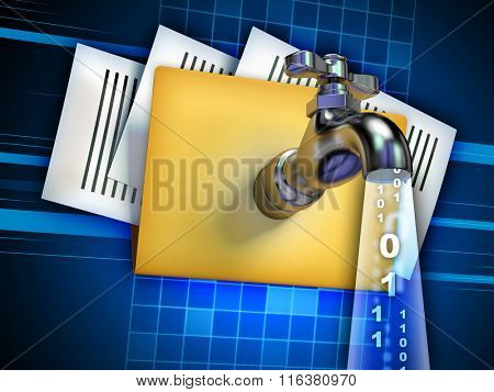 Sensitive data being stolen from digital document. Digital illustration.