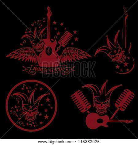 Rock Gang Set With Jester Skull,wings And Guitar
