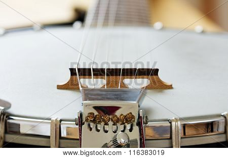 Detail Of A Metallic Banjo 6 Strings As Music Background