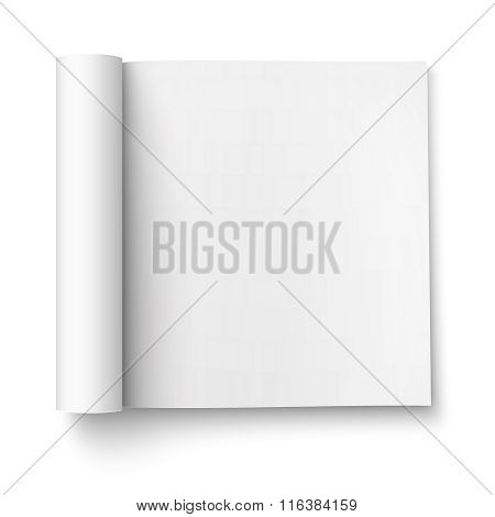 Blank open magazine template, square format.