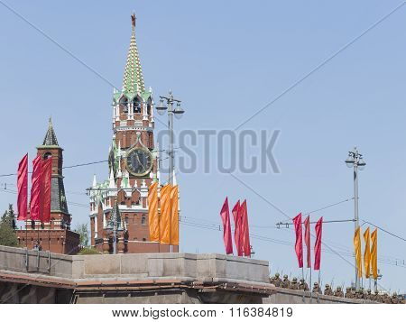 Spasskaya Tower And The Soldiers Go After The Parade Rehearsal