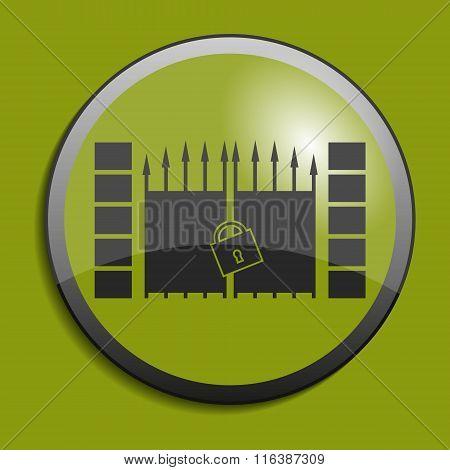 Gate Icon On Circle Button. Vector