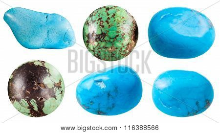 set natural mineral gemstones - Turquoise and its imitations (turkvenit blue howlite) gem stones isolated on white background poster