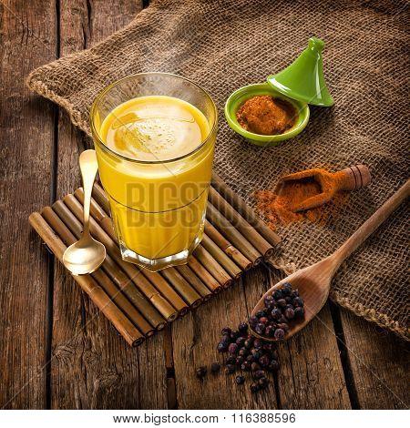 Golden Milk Made With Turmeric.