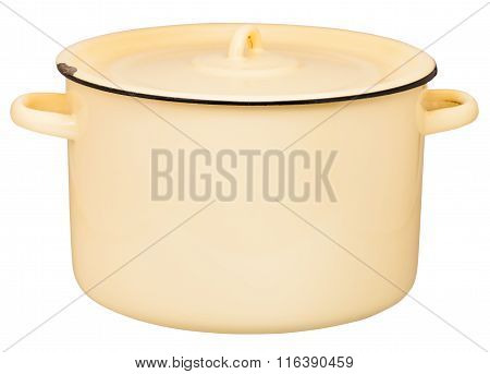 Side View Of Large Enamel Stockpot Closed By Lid