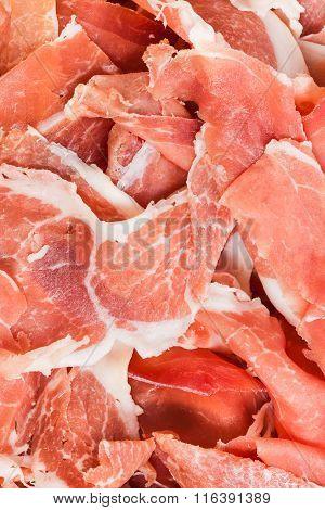 Thin Slices Of Raw Jerked Pork Close Up
