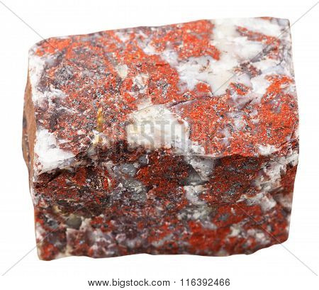 Red Jasper Mineral Stone Isolated On White
