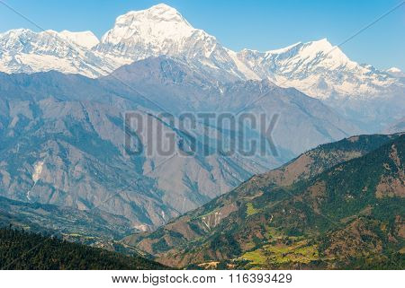 Beautiful Valley In Nepal With Dhaulagiri Himal
