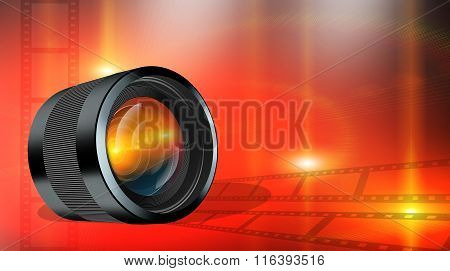 Photographic Lens On Abstract Red Background