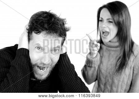 Man Screaming Unhappy About Wife Yelling At Him Black And White