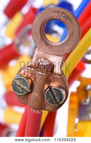 Closeup of Ring Crimp Terminals electrical accessories poster