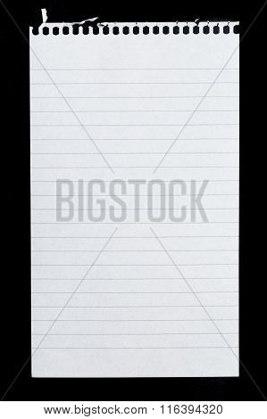 Blank notepad page isolated on black background poster