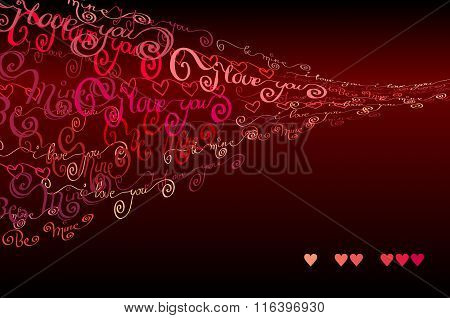 I love you words background. Valentines card