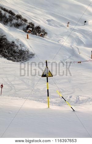 Ski Slope At Evening After Snowfall