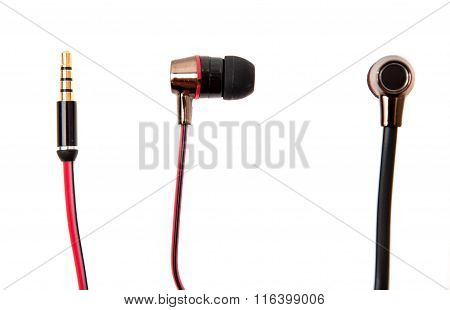 Red Wired Earphones Isolated Over White