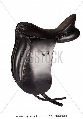 Black Leather Premium Dressage Saddle Isolated