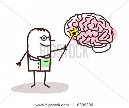 vector cartoon neurologist with brain