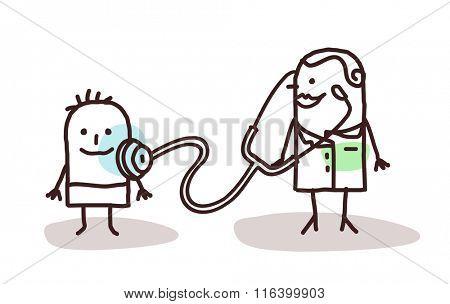 vector cartoon pediatrician with child