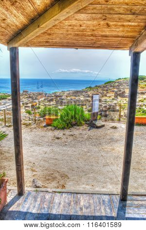 Wooden Canopy By The Sea In Tharros