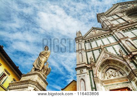 Dante Alighieri Statue And Santa Croce Cathedral