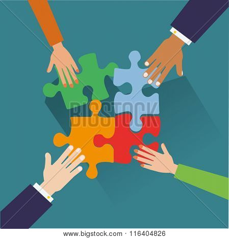 Hands putting puzzle pieces together. Teamwork concept. Flat design