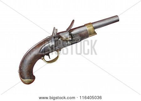 French Flint Pistol (gun) Of 19th Century