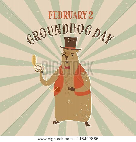 Cartoon Old Style Groundhog Day Illustration