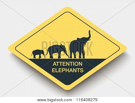 sign attention elephants and shadow.