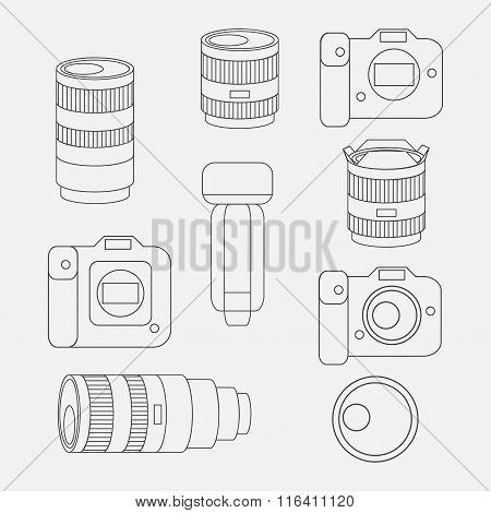 Set of photo studio equipment camera and optic lenses flat icons professional photographic technology