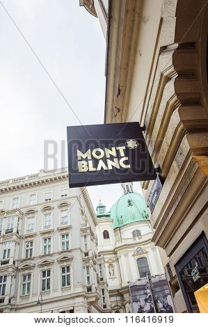 Montblanc Sign Located In The Famous Graber Shopping Stree