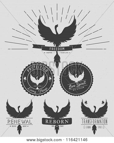 Vector Set Of Phoenix Symbol Vintage  Logos, Emblems, Silhouettes And Design Elements. Symbolic Logo