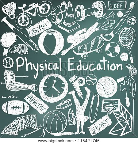 Physical Education Exercise And Gym Education Chalk Handwriting Doodle Icon Of Sport Tool Sign And S