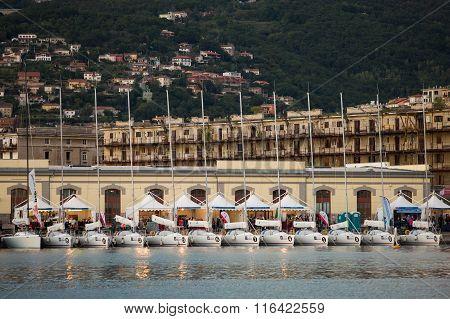 Sailboats during the 47 Barcolana regatta in Trieste gulf
