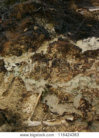 Oil pollution pollutes soil and water at an illegal oil field in Java, Indonesia
