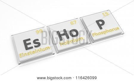 Periodic table of elements symbols used to form word Eshop, isolated on white.