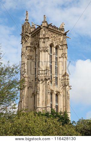 Famous Saint-Jacques Tower on the rue de Rivali in Paris